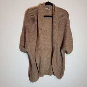 Maurices tan speckled open knit cardigan size L